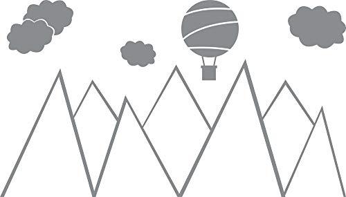 GRAZDesign Berge Wandtattoo Kinderzimmer - Tattoo Kinder - Wandsticker Little Explorer - Für kleine Entdecker / 100x57cm / 074 Mittelgrau