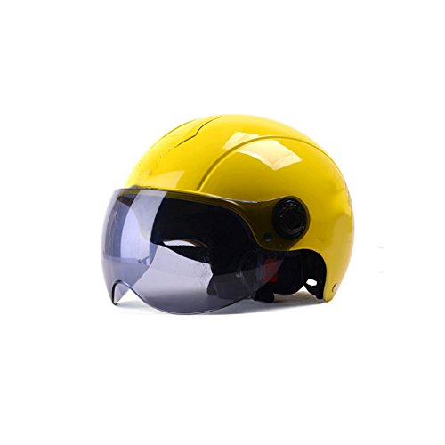 Price comparison product image helmet Yellow Four Seasons Universal Motorcycle Male Half Cover Summer Electric Bicycle Hard Hat Lady Summer Portable