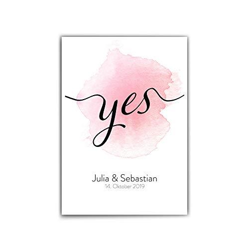 Poster Personalisiert Hochzeit - Yes - Liebe - dina4 | 30x40 cm - Namen + Datum personalisiert - Bild Personalisiertes Geschenk Hochzeit/paare - verlobung- Geschenk Jahrestag - ohne Bilderrahmen