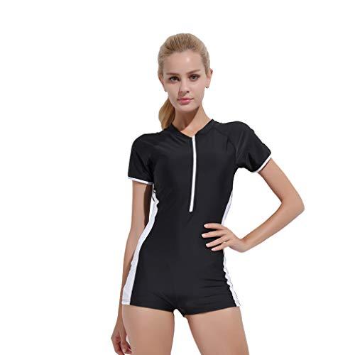iYmitz Damen Einteiliger Surfanzug Sommer UV Schutz Badeanzug Badebekleidung Wassersport Anzug Wetsuit für Frauen(Schwarz,3XL) - Stufenrock Nähen