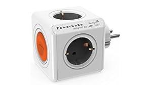 Allocacoc PowerCube Original Spina a 4 Prese con Switch, Arancione/Bianco