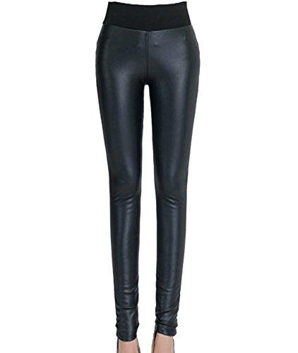 Mujeres Leggings De Piel Sintética Treggings Pu Cuero Skinny Elásticos Pantalones Leggins Negro XL
