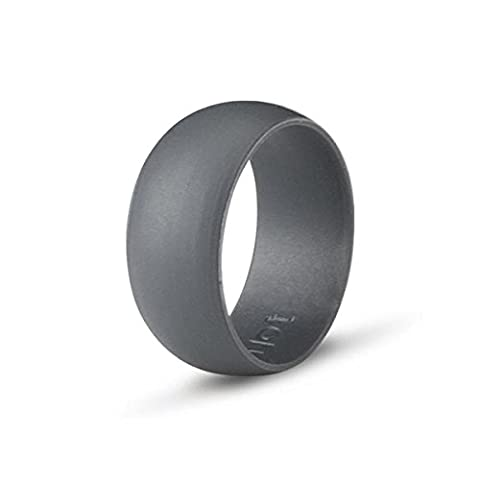 Ultra Thin Sports Ring for Active Lifestyles, Gym, Fitness, Outdoor, Medical, Mechanics or Military Personnel. A Mens Silicone Wedding Band with Extra Comfort. Gift Packing (Dark Grey, US Size 12 (21.49 mm))