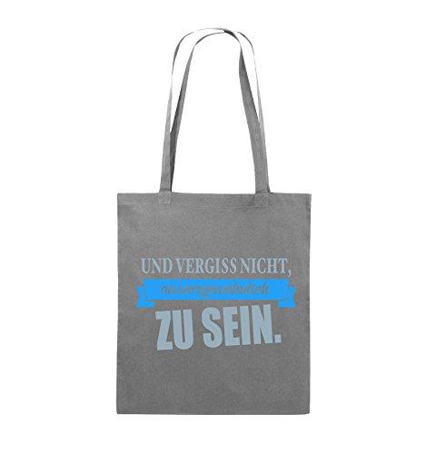 Comedy Bags - Und vergiss nicht, aussergewöhnlich zu sein. - Jutebeutel - lange Henkel - 38x42cm - Farbe: Schwarz / Weiss-Neongrün Dunkelgrau / Eisblau-Blau