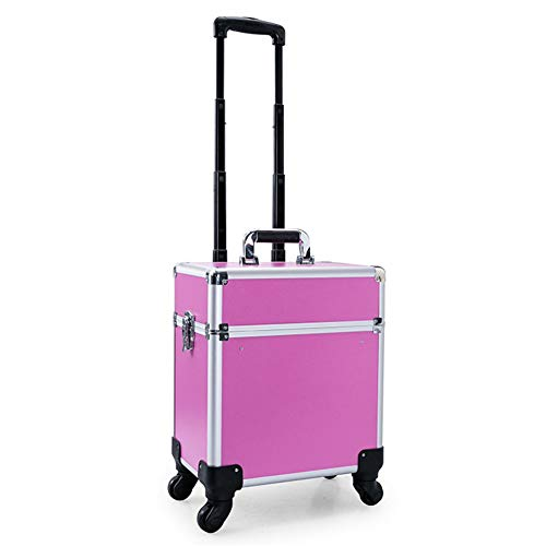 HZHSN Pro Aluminium Roulant Maquillage Valise Trolley Vanity Salon Cosmétique Trousse de Toilette Chariot Boîte Organisateur Beauté Train Bagage avec 4 ABS 360-degrés Roues, Pink