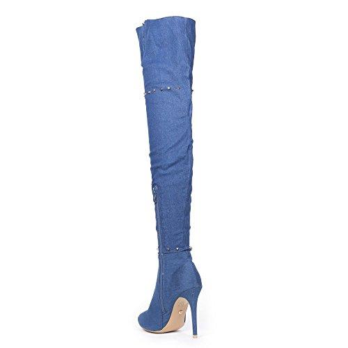 incrustées Ingrid clous jeans Cuissardes de effet Shoes Bleu Ideal qIp0CwxR1