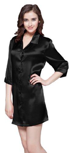 LilySilk Zauberhaft Seide Nachtshirt Nachthemd Damen Langarm 22 Momme Schwarz M Verpackung MEHRWEG
