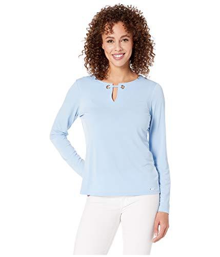 Calvin Klein Öse (Calvin Klein Ity Damen Langarmshirt mit Ösen - blau - Groß)