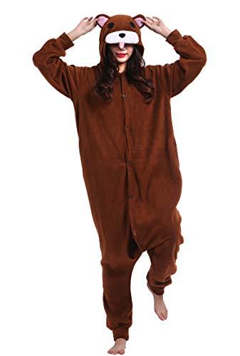 Unisex Kigurumi Jumpsuit Tier Pyjamas Kostüm Fasching Onesie Damen Herren Karneval Cosplay Nachtwäsche, Braun Bär