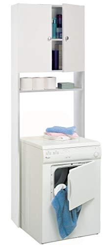 Miroytengo Mueble Auxiliar para WC Lavadora o Secadora Color Blanco Puertas y estantes 187x66x31