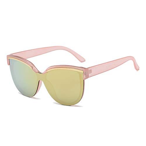 Taiyangcheng Frauen Top Cat Eye Sonnenbrille Elegante Männer Spiegel Reflektierende Sonnenbrille Brille,Rosa fröhliches Rosa
