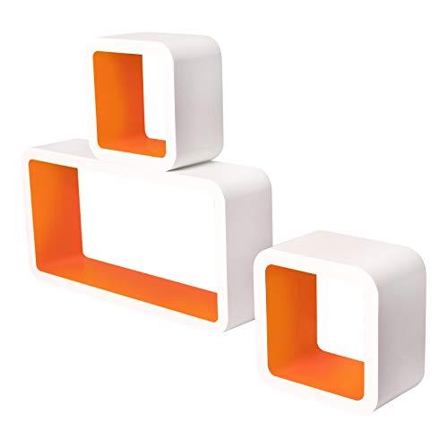 E-starain Étagères Murales Lot de 3 Étagère Cube Murale en Bois MDF, Étagère CD Étagères Rangement, Blanc + Orange
