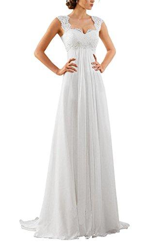 Erosebridal Spitze Chiffon Strand Hochzeitskleid Empire-Taille mit Schlüsselloch Zurück Weiß DE44