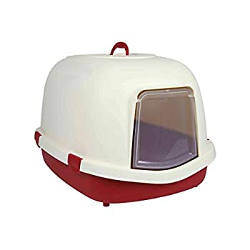 Trixie Primo Cat Litter Tray with Hood/Flap/Handle, X-Large, 71 x 56 x 47 cm, Bordeaux/Cream