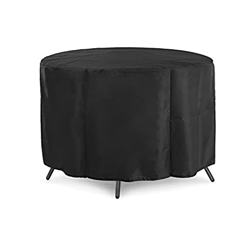 Dokor Circular Table Cover, Waterproof Breathable Oxford Fabric Garden Furniture Cover, Round, 4-6 Seat - Black
