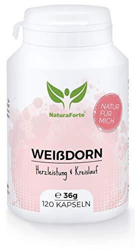 NaturaForte Weißdorn-Kapseln 120 Stück, 2 Monate Vorrat - Vegan, Hochdosiert, Natur Pur, Unterstützt Kreislauf und Leistungsfähigkeit im Alltag, Fördert Durchblutung der Gefäße auf natürliche Weise
