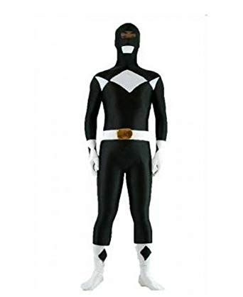 FYBR Black Power Ranger SuperSkin Costume - Adult Unisex Men & Women Second Skin | Zentai Onesie Clothing Outfit Halloween Lycra (Medium)