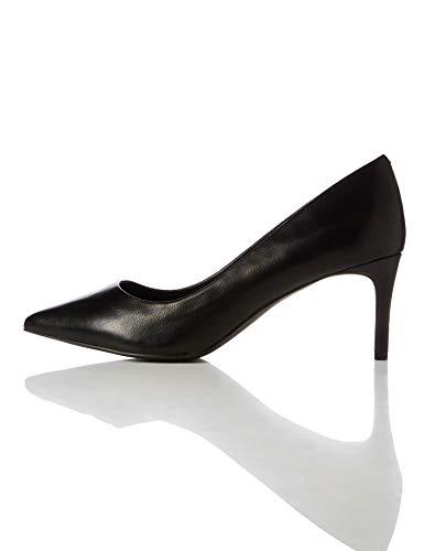 find. Point Mid Heel Leather Court Pumps, Schwarz Black), 39 EU