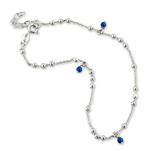 SilberDream Dangle Fußkette Damen blau silber Schmuck 25cm 925 Silber SDF5035B