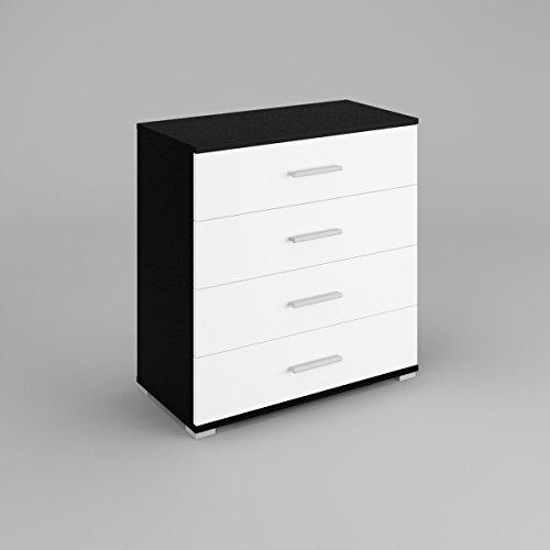 beti-commode-4-tiroirsle-corps-noir-mat-le-front-blanc-mat