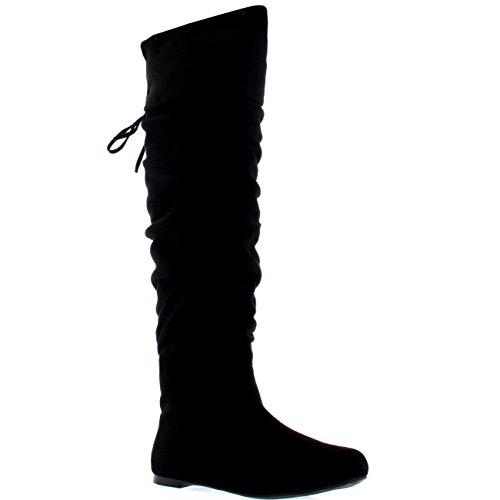 Viva Mujer Equitación Muslo Invierno Biker Zapatos Moda Alto Pirata Botas - Negro Suede - UK7/EU40 - KL0043I