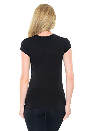 Purpless Maternity Skeleton - Slogan Gedruckt Baumwolle Schwangerschaft Top T-Shirt B2016 BlackG
