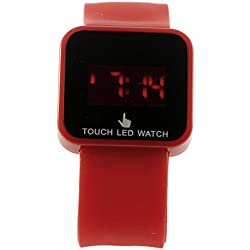 Colorful Unisex LED Digital Touch Screen Silicone Wrist Watch Red