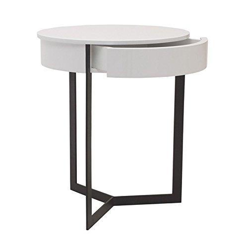 designement Winter Table de Nuit, Bois, Laqué Blanc, 45 x 45 x 54 cm
