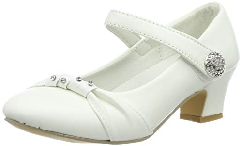 Festliche Mädchen Pumps Ballerinas Schuhe Absatz Strass M836ws Weiß 32 (Kommunion Schuhe Mädchen)