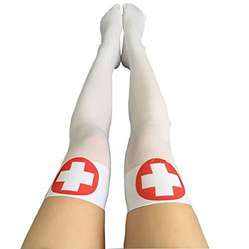 Pynxn - Lustiges Cosplay Gestreifte Overknee-Strümpfe Halloween Blut Verästelter Knochen-Muster-Frauen Cosplay Terror Blut Socken [Fluoreszenz-Gelb]