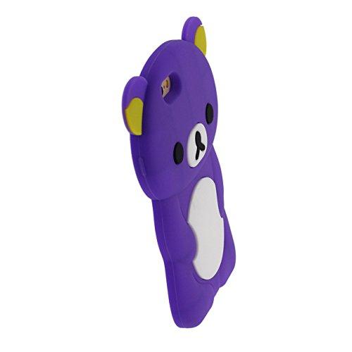 Schön Bär Gestalten Serie Slikon Gel [ Glatte Oberfläche ] Super Weich Cartoon Tier Hülle Case Schutzhülle für Apple iPhone 6 / iPhone 6S 4.7 inch Hülle - Pink lila
