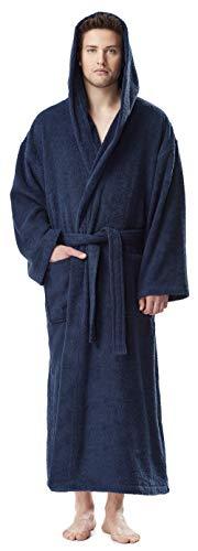 Arus Bademantel-Astra, für Damen und Herren mit Kapuze, knöchellang, 100% Flauschige Baumwolle Frottee, auch als Hausmantel Morgenmantel Saunamantel Größe: L/XL Lang, Farbe: Marine