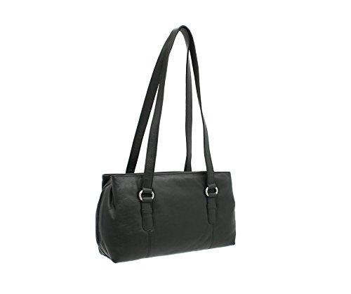 Mala en cuir LUCY Collection Triple Zip Sac bandoulière en cuir noir 734_30 noir