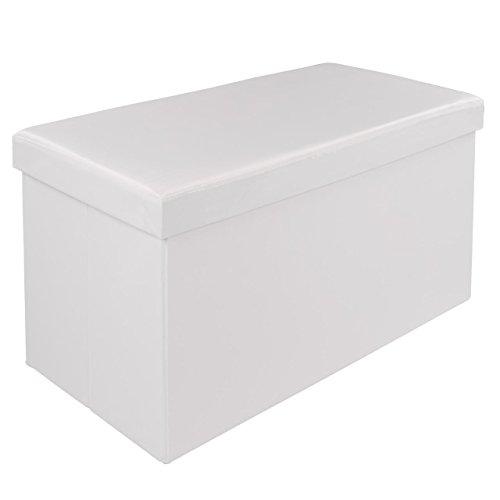 Homelux Faltbarer Sitzhocker mit Stauraum Sitzwürfel Aufbewahrungsbox Sitzbank Sitzbox 76 x 38 x 38 cm Weiss