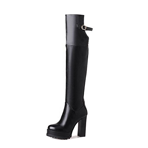 KingRover Women's Rounded Toe Side Zipper Stiletto Super High Heel Strap Buckle Platform PU Over-The-Knee Boots (Pu Knee High Black Boots)