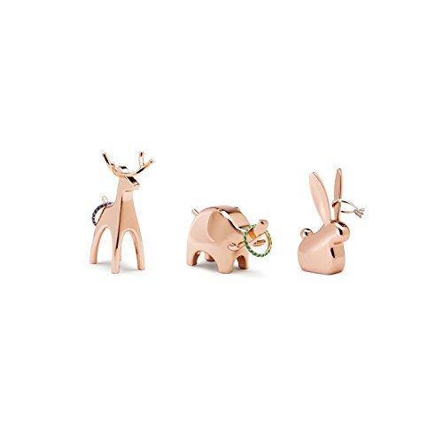 Umbra Anigram Ringhalter - Modernes Ringablage 3er-Set Bestehend aus Hase, Elefant und Rentier, Ideales Gastgeschenk, Metall / Kupfer
