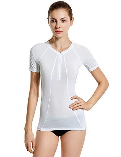 SYROKAN Damen Rash Guard Badeshirt UPF 50+ Kurzarm UV Shirt Weiss L(42)