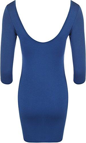 WearAll - Damen Bodycon Elastisch Kleid Rundhalsausschnitt Lange Top - 14 Farben - Größe 36 / 38 , 40 / 42 Blau