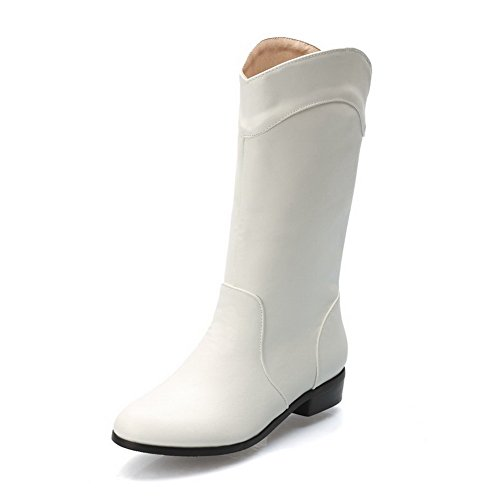 AgooLar Damen Rund Zehe Ziehen auf PU Mitte-Spitze Niedriger Absatz Stiefel, Weiß, 40