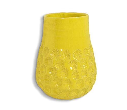 zeitzone Wandtopf Keramik Handgemacht Gelb Pflanzgefäß Wandmontage Hängend Vase für Wand