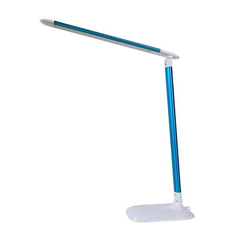 Faltbare Tischlampe Induktionsnachtlicht Kreative Studenten Lesen LED Tischlampe Fünf-Gang-Helligkeit Einstellbar Schreibtisch Lanps (Color : Blue) -