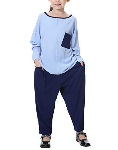 zhxinashu Muslim Abaya Türkei Mädchen Kostüm - Langarm Patchwork Langes Hemd Hose Set(Himmelblau/100cm)