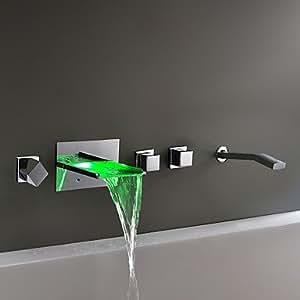 Support mural chromé Changement de couleur LED robinet cascade baignoire