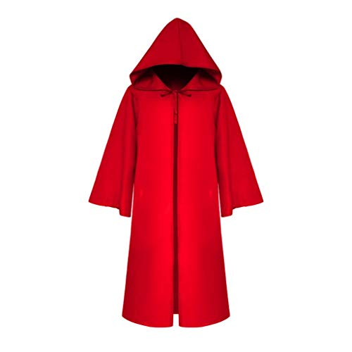Kostüm Yakuza 4 - RYTEJFES Women Men's Vintage Half Sleeve Solid Hooded Bandage Cloak Cosplay Outwear Coat Halloween Faschingskostüme Prom Ballkleid Overalls (Rot, S)