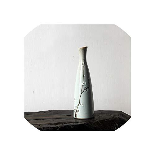JobFine Traditionelle Chinesische Porzellan Blumenvase Handgemachte keramische Schreibtisch Vasen Kreativer Hauptdekor Retro Blumentopf,G
