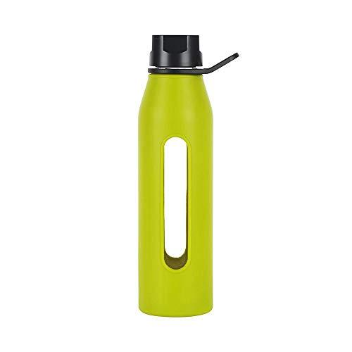 SYT Water cup BPA Free Glass Wasserflasche mit Twist Cap und Soft Silikon Sleeve Ideal für Yoga, 570ml, grün Green Peeling Cap