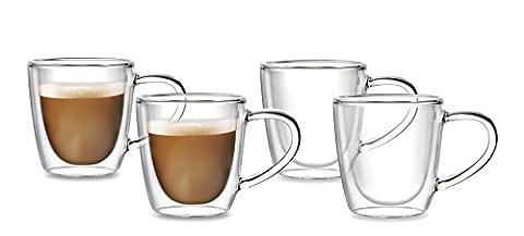 Doppelwandige Thermo-Gläser mit Henkel   4 x 350ml große Tassen mit Schwebeeffekt für Tee, Milch-Kaffee, Latte Macchiato, Cappuccino. Das Glas / die Becher sind Handarbeit in höchster (Latte Macchiato Tasse)