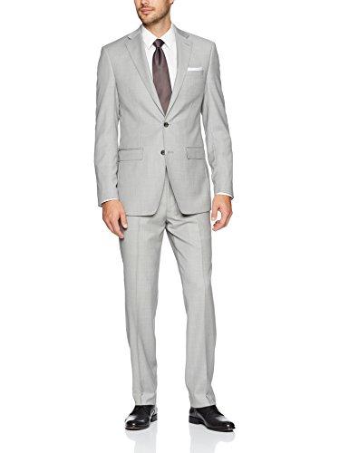 Calvin Klein Men's Slim Fit Wool Suit, Bright Gray, 48 Regular -