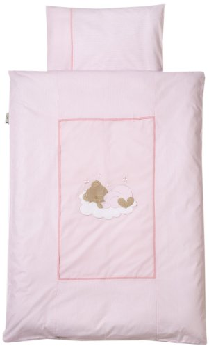 Easy Baby 415-82 Parure de lit 80 x 80 cm Motif ourson endormi Rose