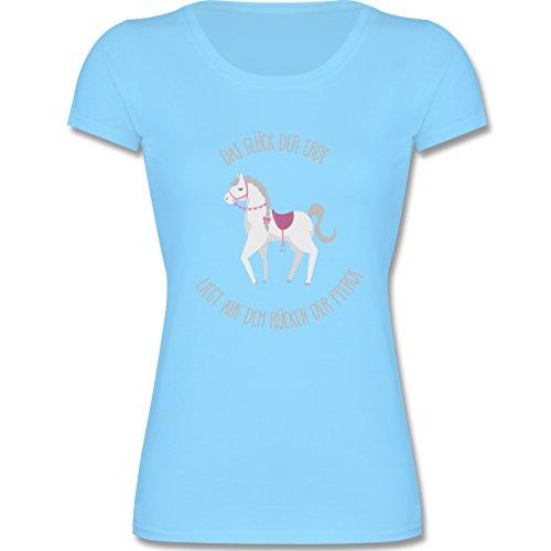 Tiermotive Kind - Das Glück der Erde Liegt auf dem Rücken der Pferde - 140 (9-11 Jahre) - Hellblau - F288K - Mädchen T-Shirt (Erde-mädchen T-shirt)